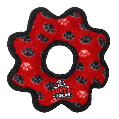 Junior Gear Ring Durable Squeaky Plush Dog Toy Red Paw Print