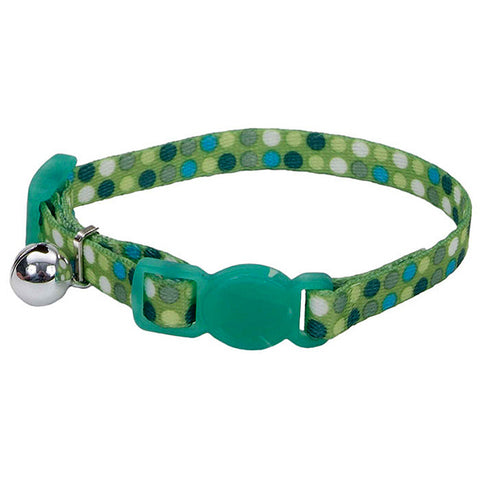 Li'l Pals Adjustable Breakaway Kitten Collar Green Dot Pattern