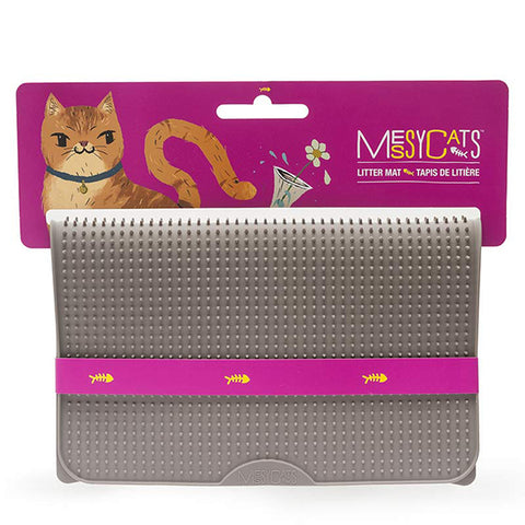 Silicone Litter Mat with Soft Graduated Spikes Grey