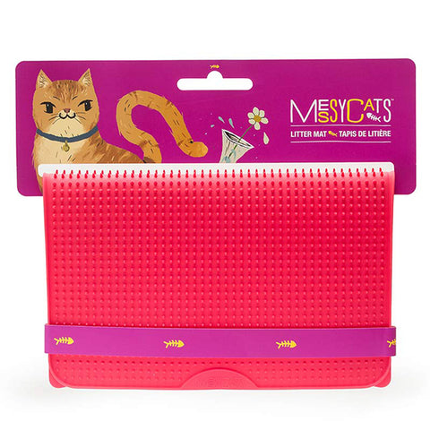 Silicone Litter Mat with Soft Graduated Spikes Red