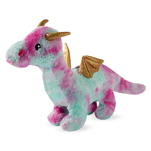 PetShop Amethyst the Dragon Squeaky & Fuzzy Plush Dog Toy Magenta & Blue