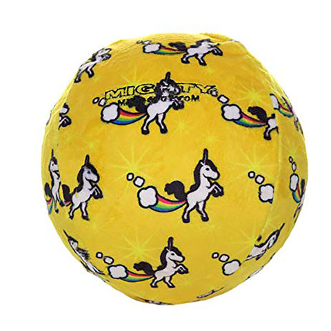Tuffy's Mighty Ball Unicorn Print Yellow Durable Squeaky Fabric Plush Dog Toy