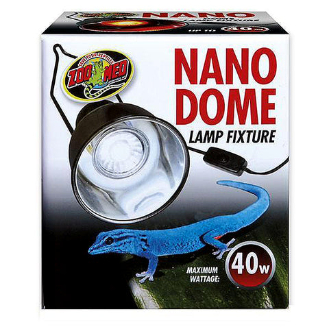 Nano Dome Reptile Compact Lamp Fixture With On/Off Switch Black