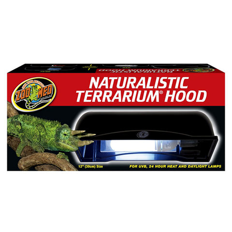 Naturalistic Terrarium Hood Compact Lamp Fixture with On/Off Switch Black