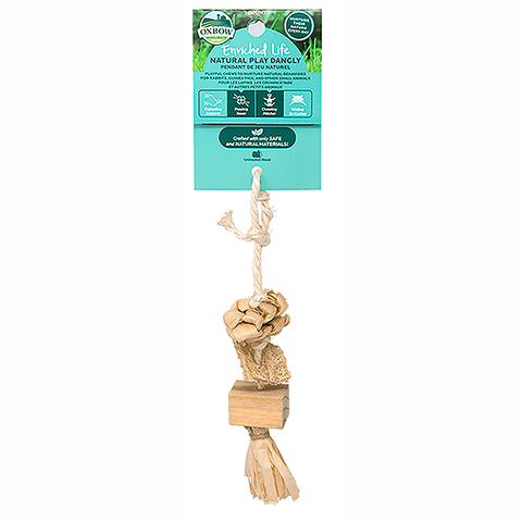 Enriched Life Natural Play Dangly Rope & Wood Hanging Small Animal Toy