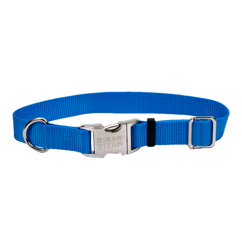 Adjustable Nylon Collar with Titan Metal Buckle Blue Lagoon