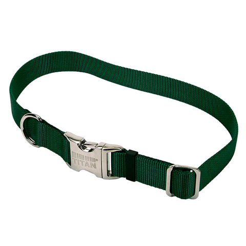 Adjustable Nylon Collar with Titan Metal Buckle Hunter Green