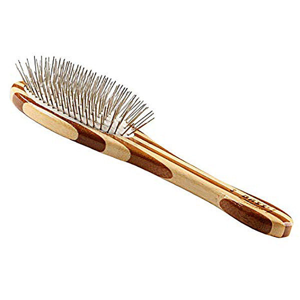 Oval Wire Pin Dog Brush with Bamboo Handle