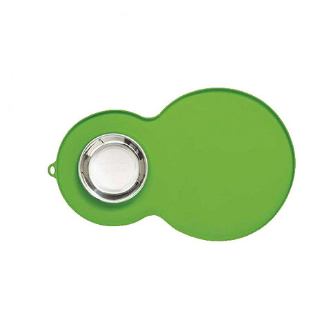 Silicone Peanut-Shaped Placemat Green with Stainless Steel Bowl