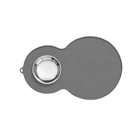 Silicone Peanut-Shaped Placemat Grey with Stainless Steel Bowl