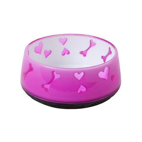 Dogit Bone & Hearts Pattern Plastic Bowl Pink