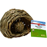 Play 'N Chew Cubby Nest Woven Sisal Small Animal Hideout with Hanging Toy