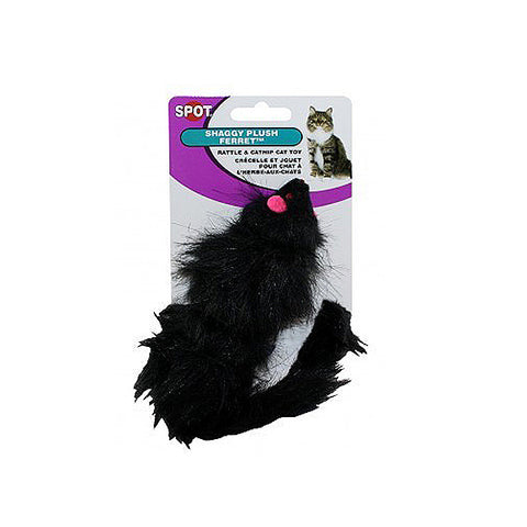 Spot Shaggy Ferret Fuzzy Black Rattle Catnip Plush Cat Toy