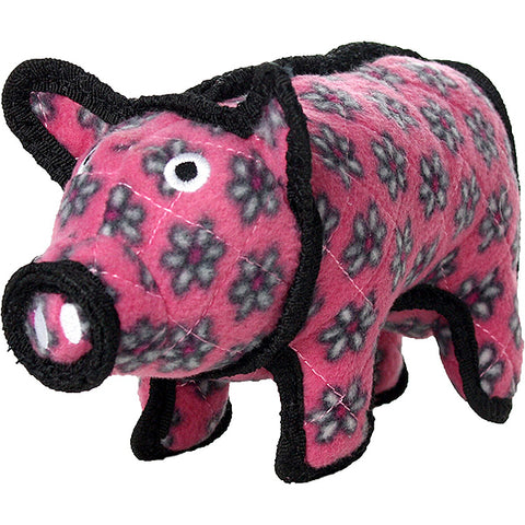 Tuffy's Barnyard Polly Pig Pink Durable Squeaky Fabric Plush Dog Toy