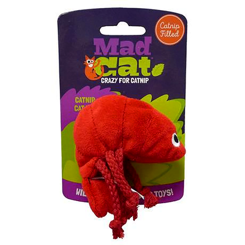 Mad Cat Pouncin' Prawn Catnip & Silvervine Plush with Tassles Cat Toy