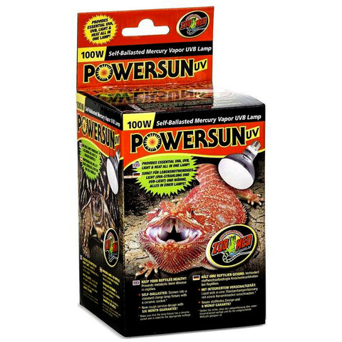 PowerSun UVA & UVB Mercury Vapor Bulb Reptile Light & Heat Emitter 100 Watt