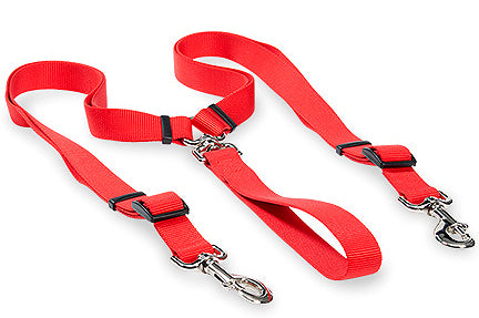 Two Dog Walker Adjustable Nylon Duo Leash Red