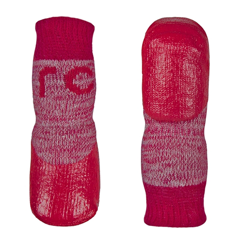 Sport Pawks Protective Dog Socks with Anti-Slip Gripper Bottom Red