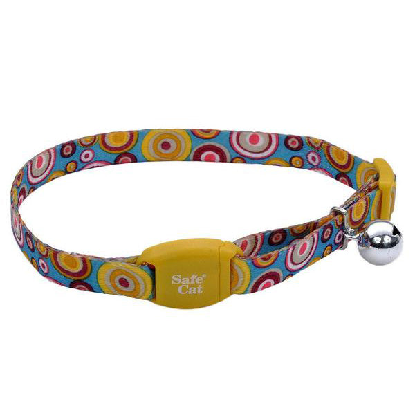 Safe Cat Adjustable Breakaway Collar with Magnetic Buckle Golden Kaleidoscope Pattern