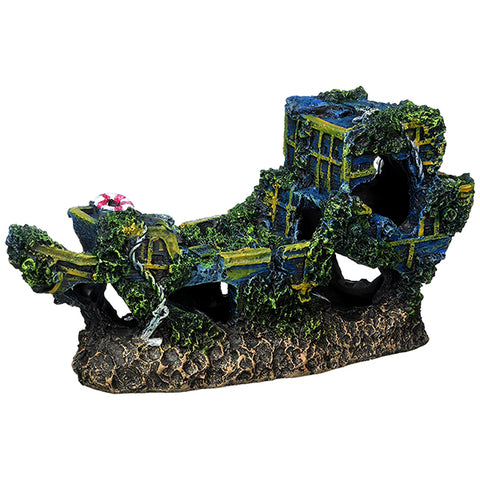 Resin Aquarium Sunken Treasure Ship Decoration