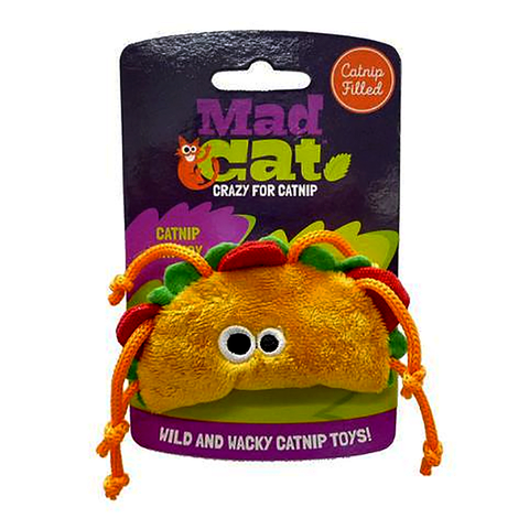 Mad Cat Tabby Taco Catnip & Silvervine Plush with Tassles Cat Toy