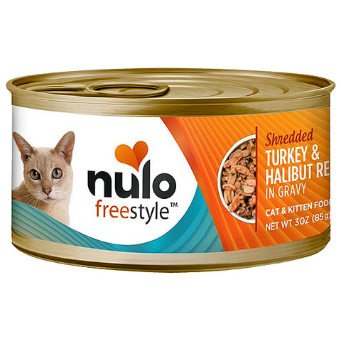 FreeStyle Shredded Turkey & Halibut Recipe in Gravy Grain-Free Canned Cat Food