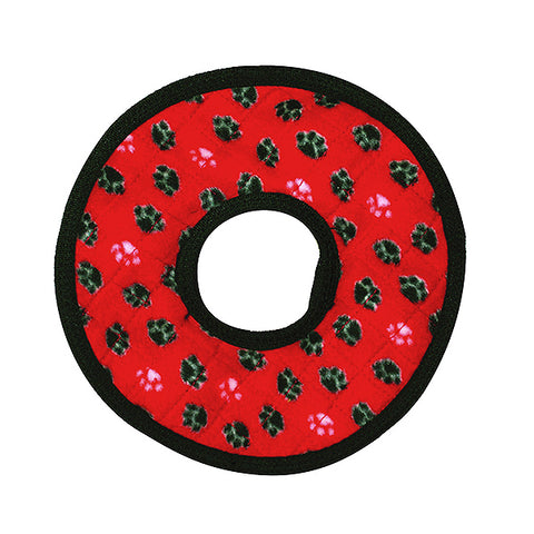 Tuffy's Ultimate Ring Red Paw Print Durable Squeaky Fabric Plush Dog Toy