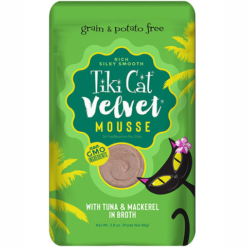 Velvet Mousse Tuna & Mackerel in Broth Grain-Free Wet Pouch Cat Food