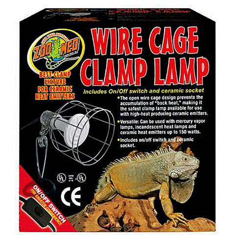 Wire Cage Clamp Lamp Fixture With On/Off Switch