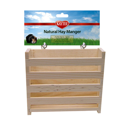 Natural Wood Hay Manger Mountable Small Animal Hay Feeder