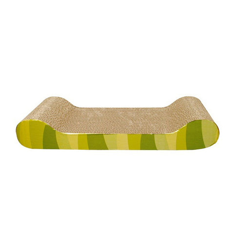 Catit Lounge Corrugated Cardboard Scratcher with Catnip Yellow & Green