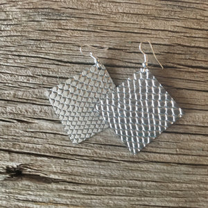 Silver Snake Embossed Square Earrings
