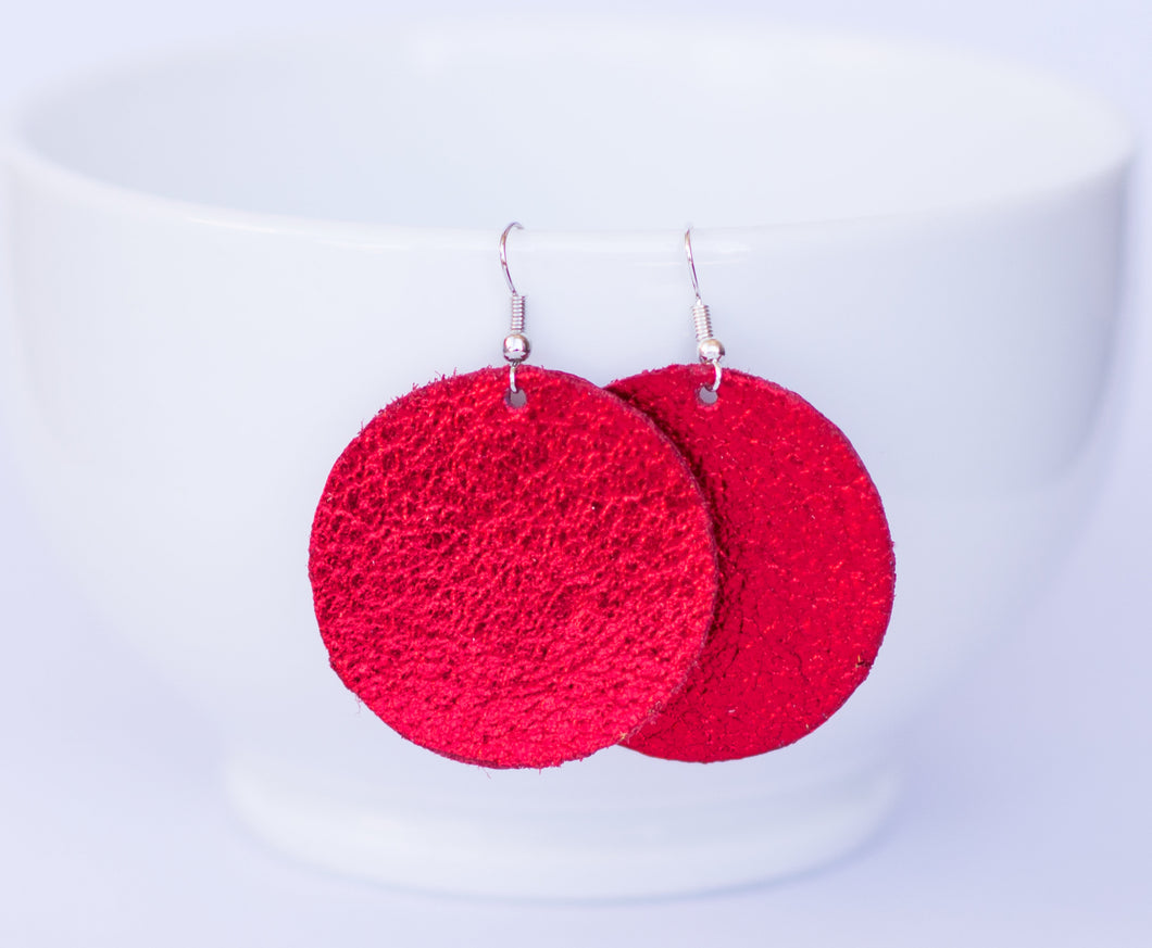 Red Sparkle Circle Earrings