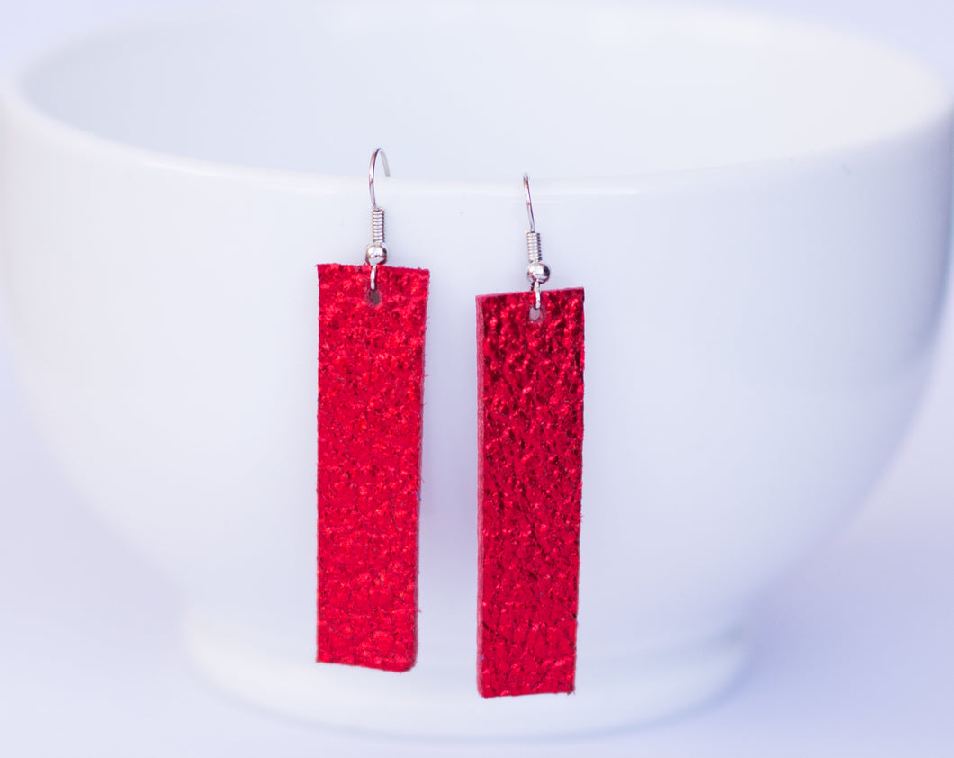 Red Sparkle Rectangle Earrings