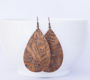 Brown Floral Embossed Teardrop Earrings