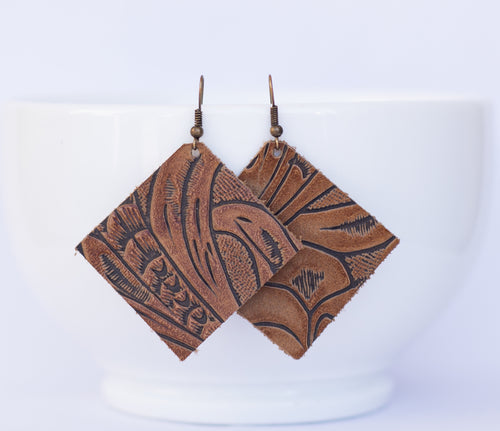 Brown Floral Square Earrings