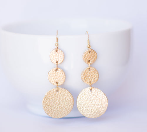 Gold Triple Drop Earrings