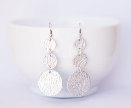 Silver Sparkle Triple Drop Earrings