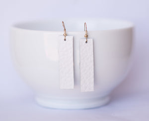 White Rectangle Earrings