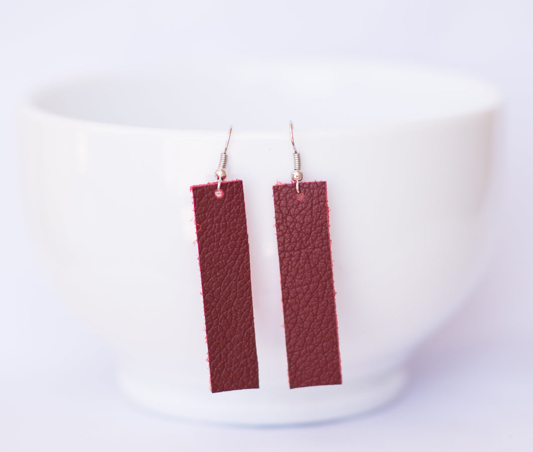 Deep Red Rectangle Earrings