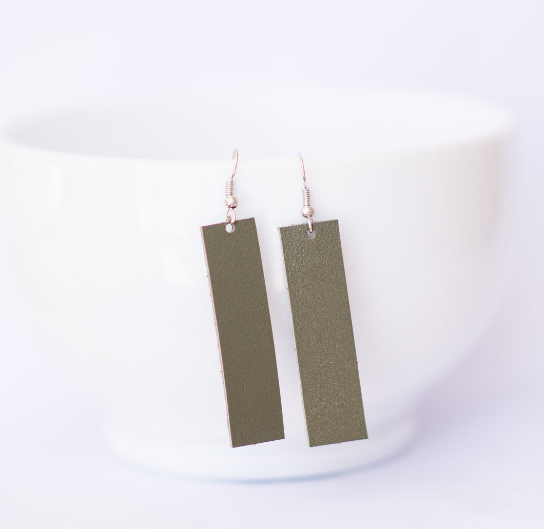 Dark Sage Rectangle Earrings