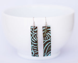 Mint and Brown Floral Rectangle Earrings