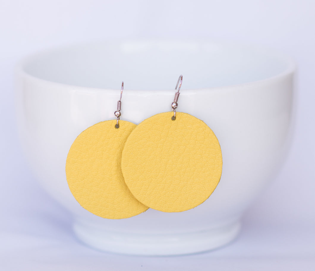 Sun Bright Yellow Circle Earrings