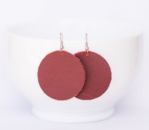 Deep Red Circle Earrings