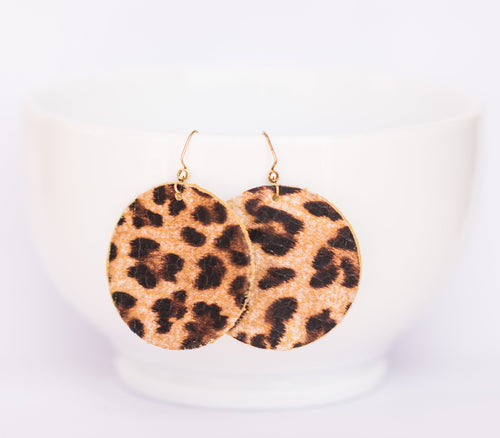 Cheetah Circle Earrings