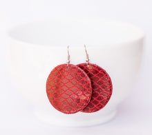 Red Fishnet Circle Earrings