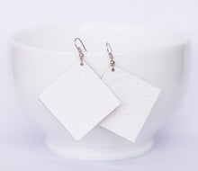 White Square Earrings