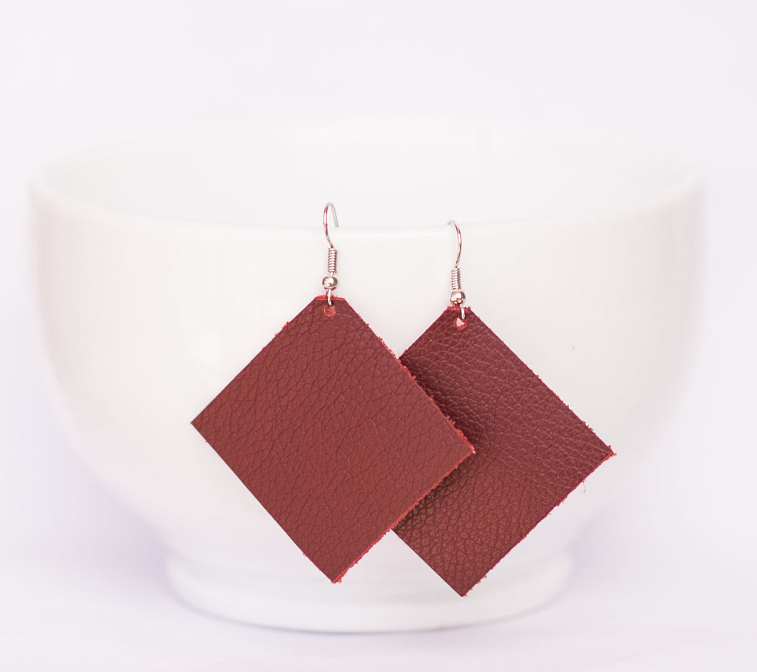 Deep Red Square Earrings