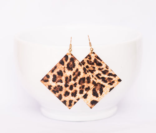 Cheetah Square Earrings