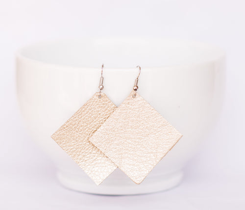 Champagne Sparkle Square Earrings